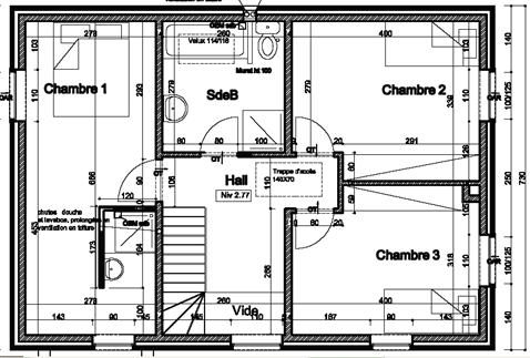 plan d'une maison etage